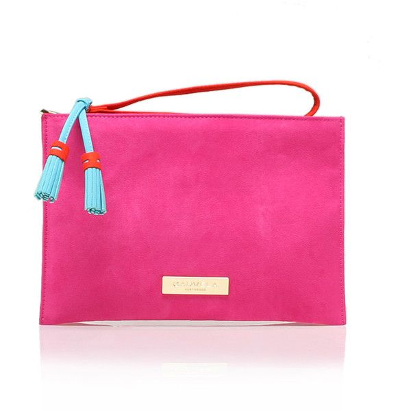 Gabriel Pouch Carvela Kurt Geiger Pink (£59) ❤ liked on Polyvore featuring bags, handbags, clutches, pink, tassel purse, pouch purse, pink pouch, pink clutches and pink handbags