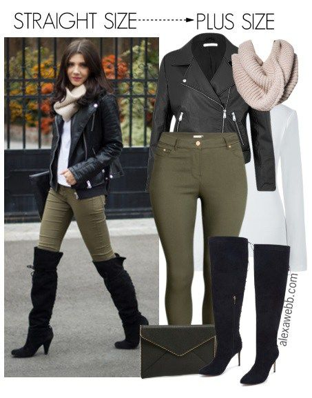 Straight Size to Plus Size - Over-the-Knee Boots Outfit - Plus Size Fashion for Women - alexawebb.com #alexawebb