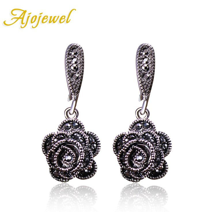 Ajojewel Brand New Fashion Vintage Earrings For Women Black CZ Diamond Rose Flower Drop Earrings Jewelry Earrings Cute Bijoux