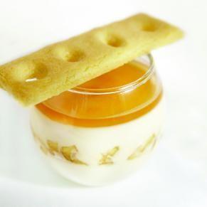 Panna cotta au le Bleu d'Élizabeth, sablé breton, gelée de cidre de poire, compote de fruits.... et autres recettes à base de fromage!