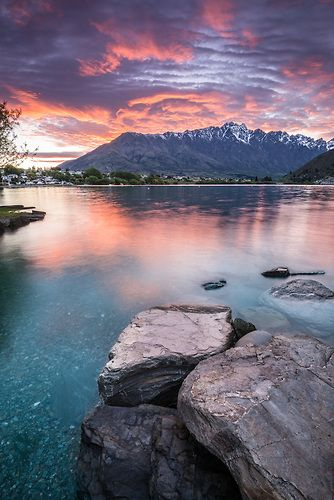 The Remarkables, sunrise, Lake Wakatipu, Queenstown : New Zealand : Sisson