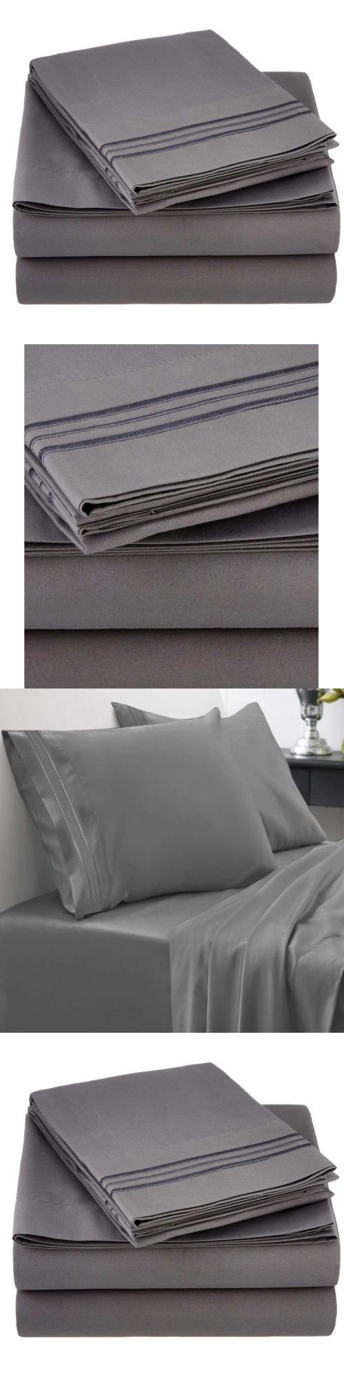 Sheets and Pillowcases 20460: King Size 4 Piece Deep Pocket Bed Sheet Set Gray 800 Thread Count Egyptian New -> BUY IT NOW ONLY: $37.53 on eBay!