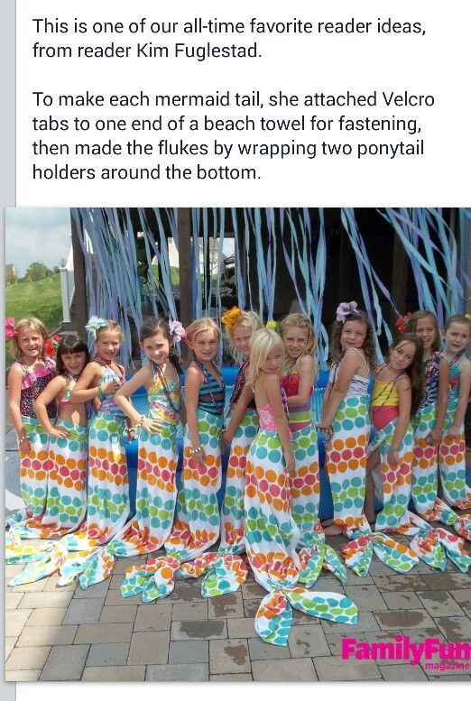 Mermaid tails made from towels and hair ties...no sewing and easy to do!