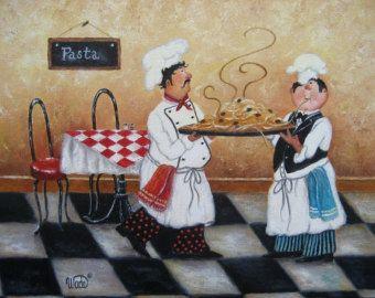chef chicken decor | Art Print, fat chefs, chef paintings, prints, chef art, kitchen decor ...