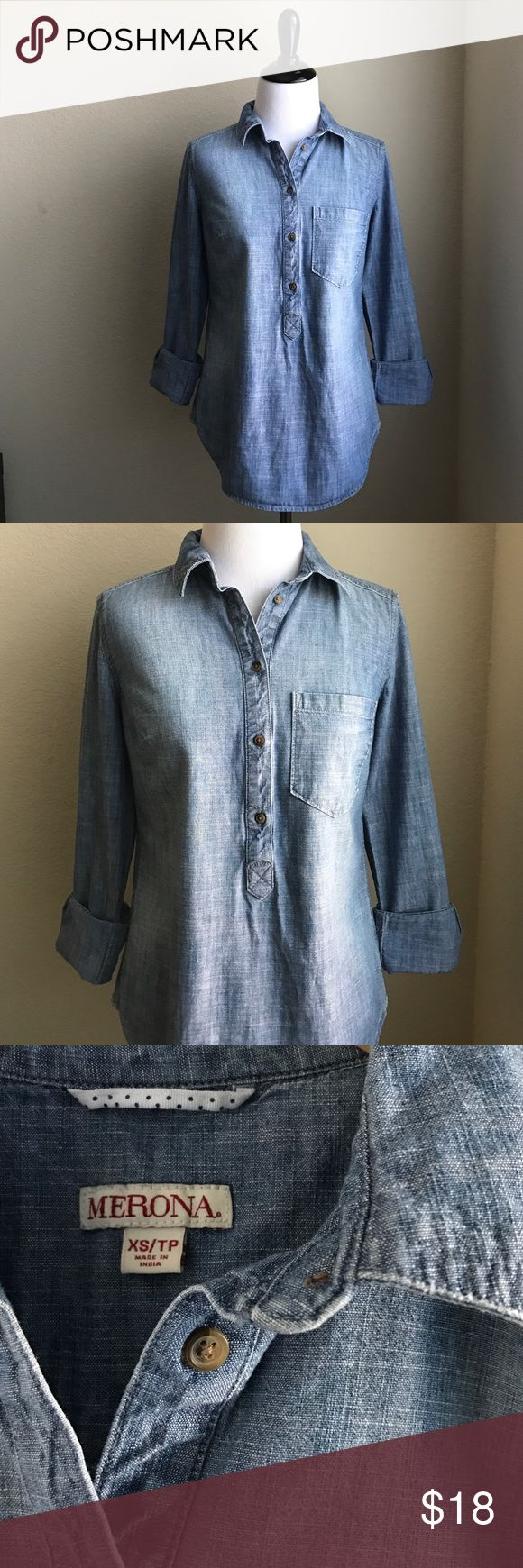 Denim Pullover Shirt A must-have closet denim top from Merona. Preloved but in excellent condition. Looks great with leggings, jeans, and even khakis! Merona Tops Button Down Shirts