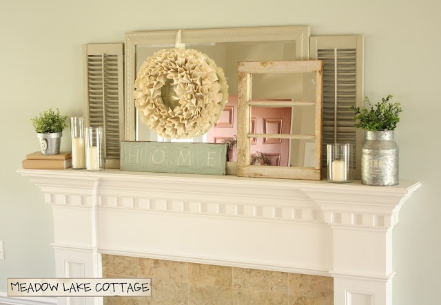 I love this mantle arrangement, especially that wreath.Spring Mantles, Mantles Decor, Lake Cottages, Lakes Roads, Spring Mantels, Living Room, Meadow Lakes, Lakes Cottages, Pretty Mantles