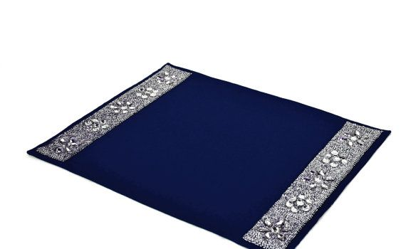 Navy blue placemats with diamond glaze Table by AmoreBeaute