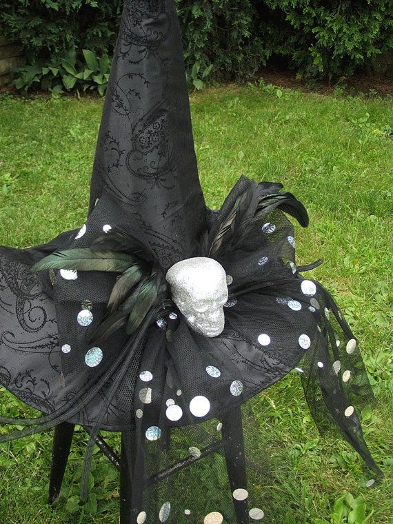 Skull Witch Hat / Black Witch Hat / by englishrosedesignsoh, $79.99
