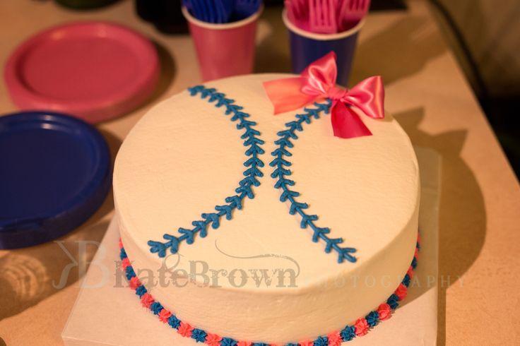 Baseball baby gender reveal cake