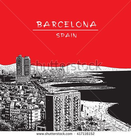 Barcelona, Spain. Panoramic view with the beach. Monochrome vector image in engraving style.