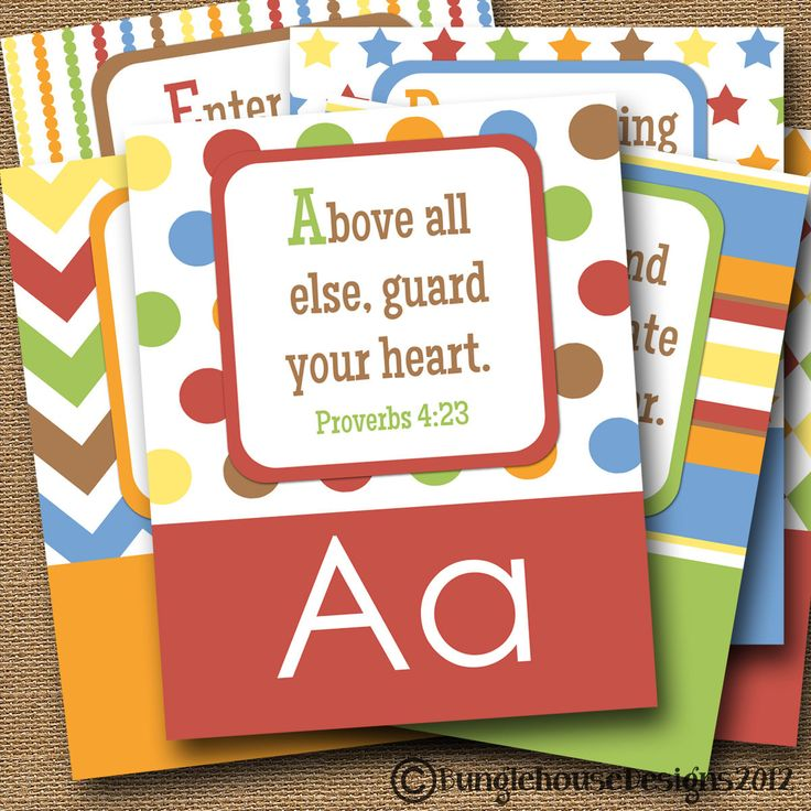 "ABC Scriptures for Kids Children's Alphabet DIY Printable ""ABC: God's Way for Me"" Christian Bible Verse Alphabet Poster Wall Art"