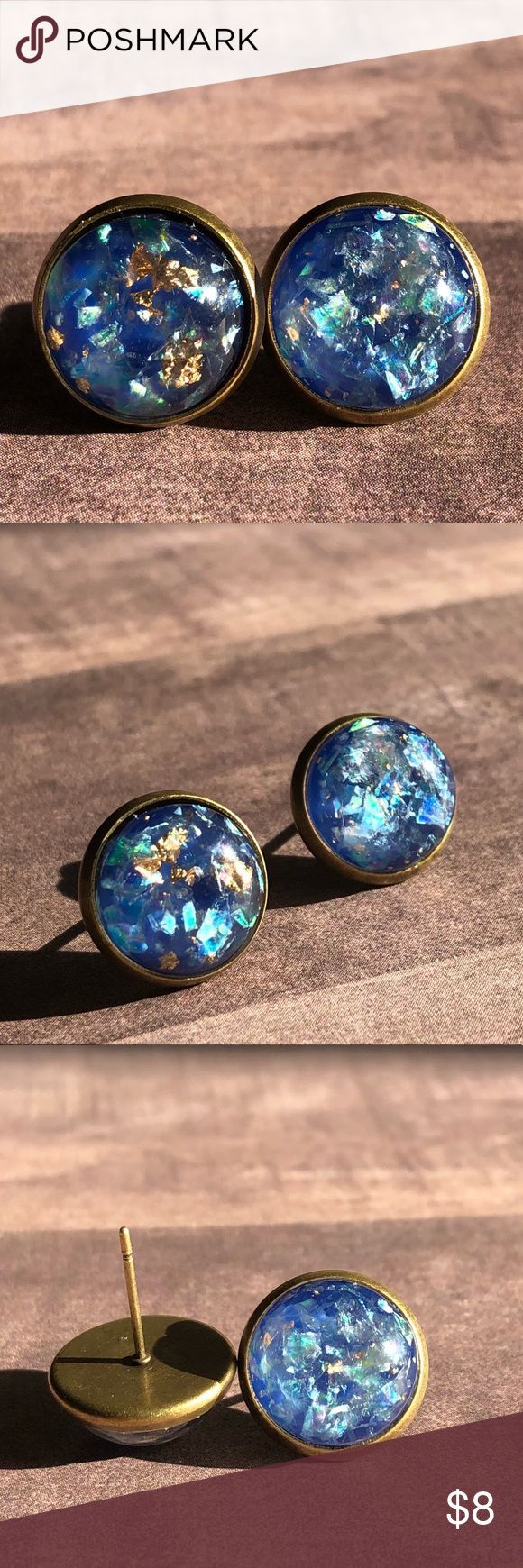 """🆕Blue Opal Gold Metal Stone Bronze Stud Earrings! New, Handmade by Me! 🆕Style! Opal Stone mixed with Gold Metal! Listing in White, Black & Dark Blue; This listing is for the Blue Stone in Antique Bronze Post Backs; Approx. 12mm or 1/2"""" Size; Can make in any Style Back Shown!📸These are my pic's of the Actual items!  ▶️1 For $8, 2 For $13, 3 For $15!◀️  ▪️3-$15 is only for items listed as such▪️ ▪️Post Back for Pierced Ears ▪️Nickel, Lead & Cadmium Free  *NO TRADES *Price is FIRM as Listed…"""