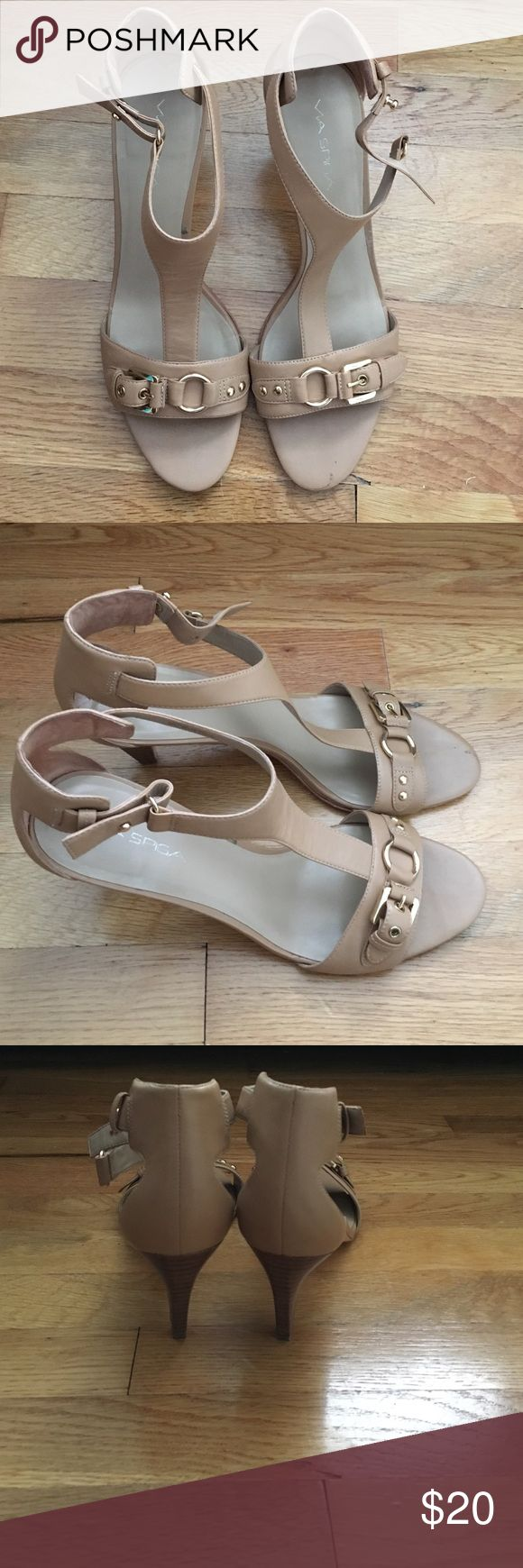 Dressy t strap sandals These are t strap sandals by Via Spiga. They run a little big and can fit a US size 11. Via Spiga Shoes Sandals