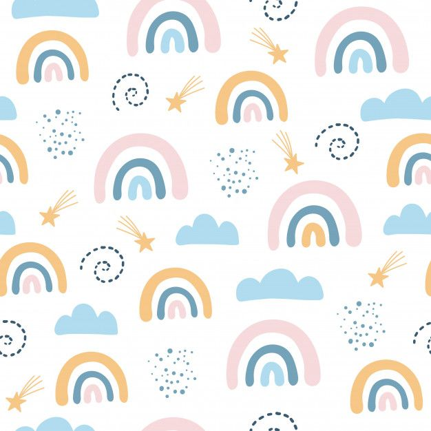 Seamless Pattern With Cloud And Rainbow In The Sky Scandinavian Style In 2020 Seamless Patterns Kids Fabric Prints Scandinavian Pattern