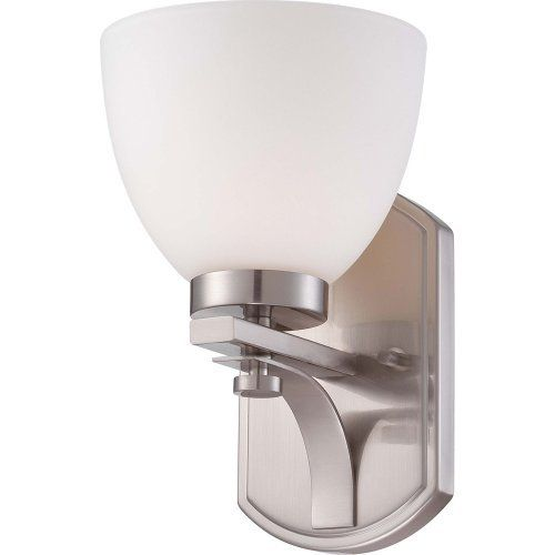 The Illumine Bentley 1 Light Brushed Nickel Vanity Fixture With Frosted Glass Shade Features A Versatile Design This Comes Finish And
