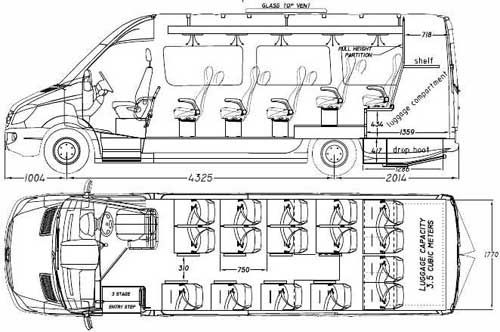 bus seats drawings