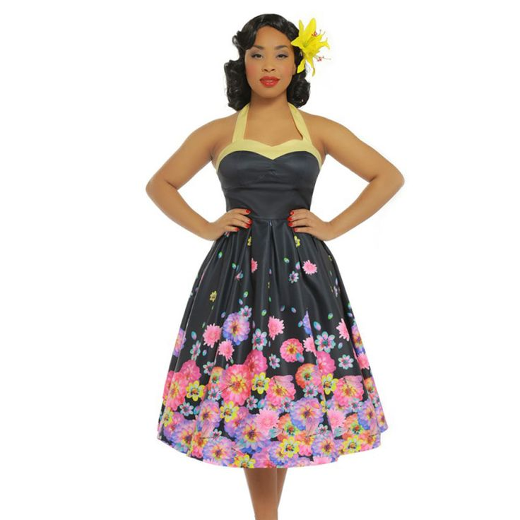 Lindy Bop Swing Carola halternek jurk met bloesem bloemen print zwart