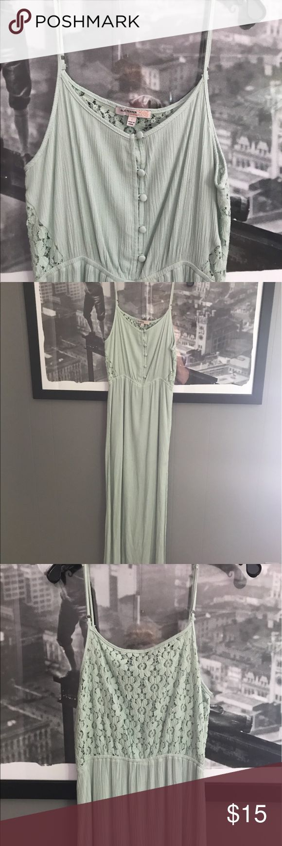 Mint Maxi Dress Never worn. Button down top and lace/crochet back. Blu Pepper Dresses Maxi