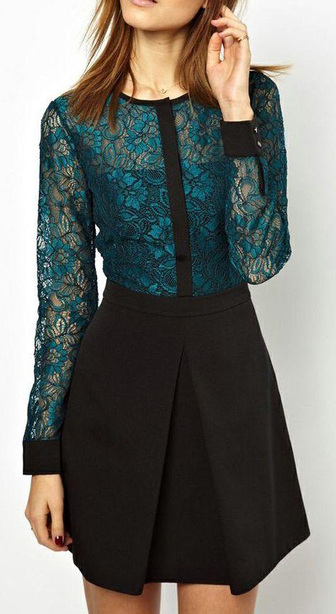 Green Long Sleeve Lace Contrast Black Dress