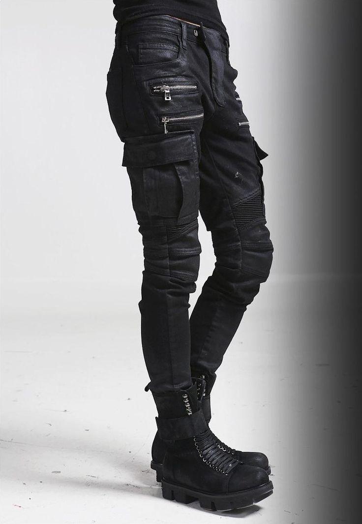 Nyfashioncity Mens Black Wax Coated Cargo Pants Fashion Biker Jeans | NYFashionCity