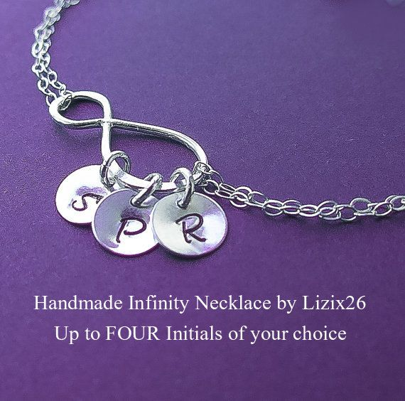 Personalized Infinity Necklace,Friendship Necklace with Initials,Best Friends,Sisters Necklace, Gift for Mom, Grandma Necklace with Initials