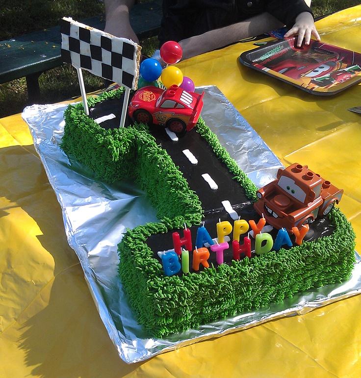 Disney Cars birthday cake 1st birthday I used premade angle food
