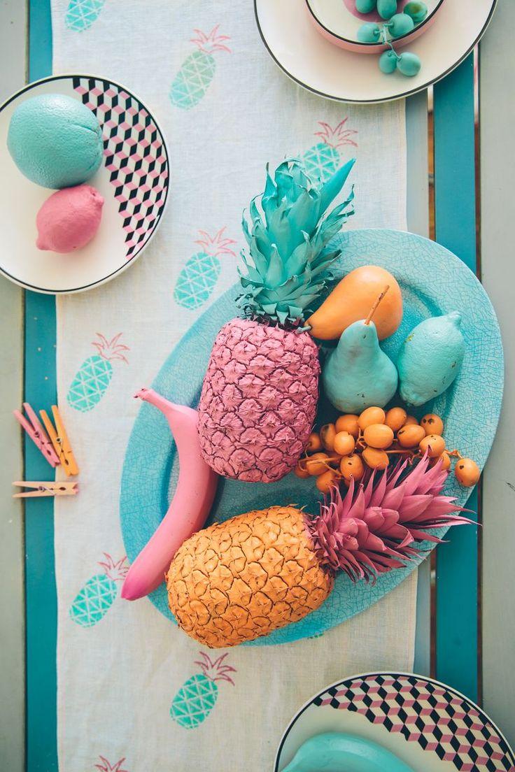 Spray-painted fruit