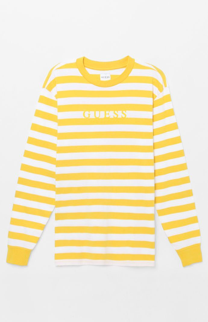 318577ae Guess Palm Stripe Long Sleeve T-Shirt in 2019 | Outfits for the Boys ...