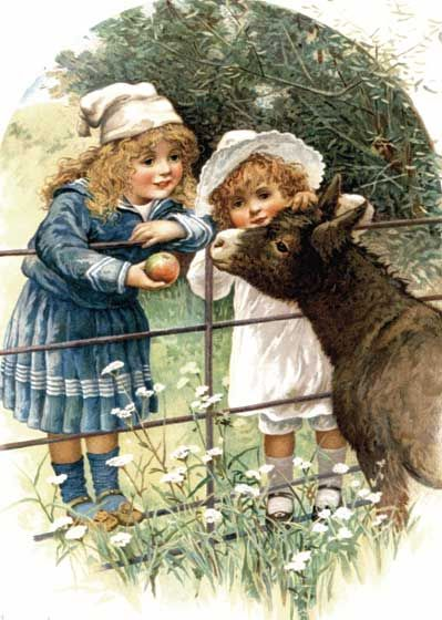 Girls Feeding Donkey Art Print ) | Sugar and Spice Anytime Art Prints