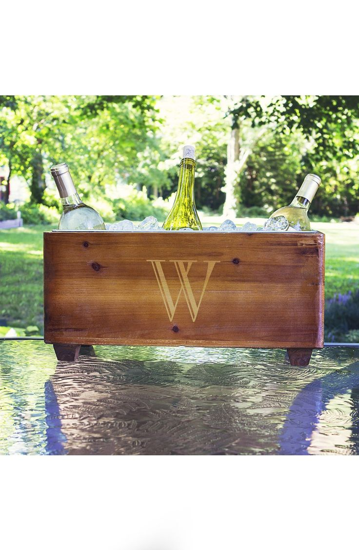 85 best personalized gifts images on pinterest personalised keep bottled wine chilled on your wedding reception tables in this rustic wood wine trough personalized with a large single gold initial representing the negle Gallery