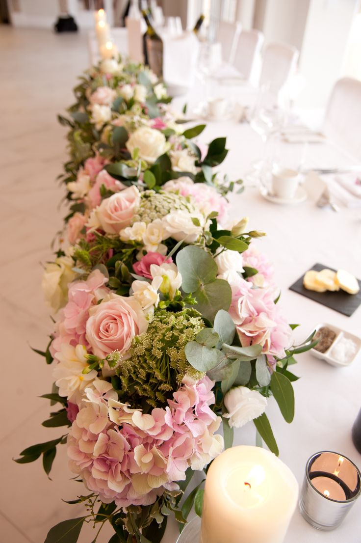 Top Table design by Eden Blooms at Froyle Park, image by Lawrence Photography. Flowers include Avalanche and Sweet Avalanche Roses, Silverstone Hydrangea, White O'Hara Roses
