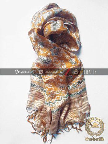 Selendang Batik Sutra Warna Kuning Floral | #Indonesia #Batik #Scarves Shawl Wholesale http://thebatik.co.id/syal-selendang-batik/