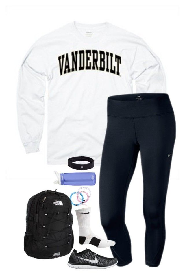 """""""school outfit tomorrow"""" by lilypackard ❤ liked on Polyvore featuring NIKE, The North Face, CamelBak, lululemon, women's clothing, women, female, woman, misses and juniors"""