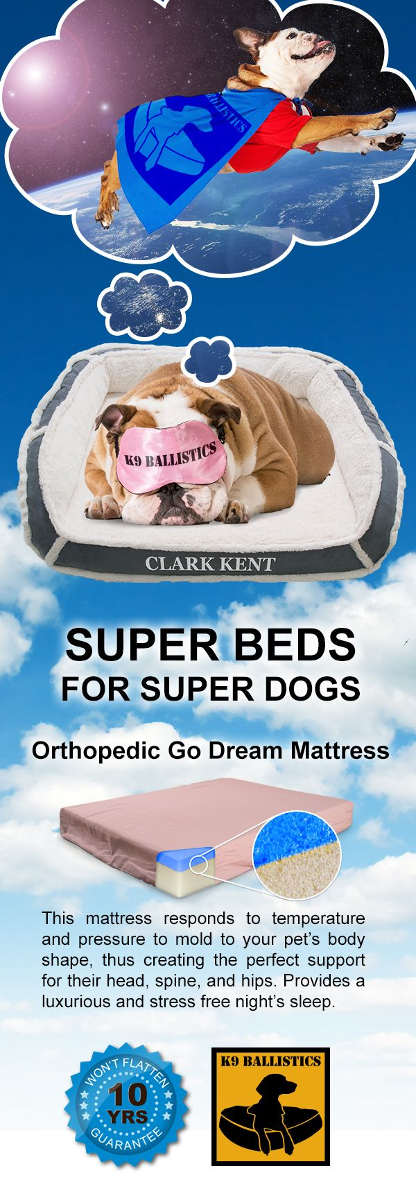 Spoil your dog with an Orthopedic Dog Bed, guaranteed not to flatten for 10 years. Free shipping in the U.S.!