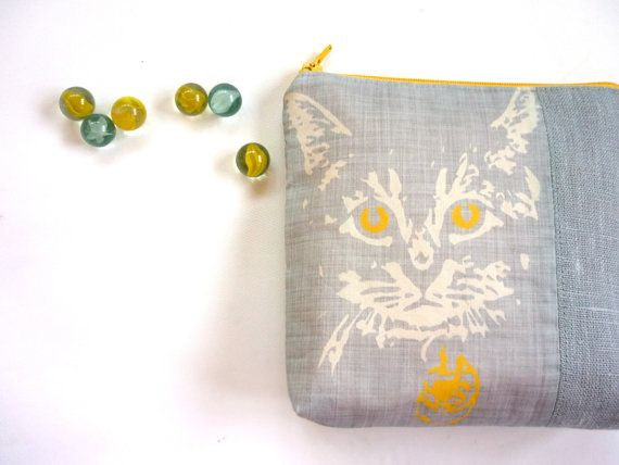 Cat purse grey yellow pouch gift for cat lover by maplemist