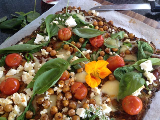 Baby Marrow Zucchini Courgette Pizza Base with Roasted Miso Chickpeas and Cheesy Cherry Tomato Topping