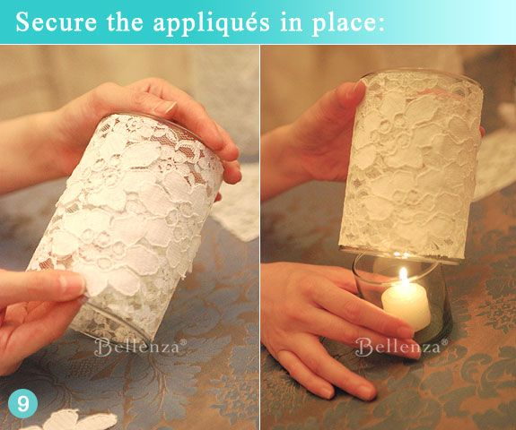 Finished glass votive holder with white lace rosette fabric -- see the full post for this DIY at the Bellenza Wedding Bistro. #bellenzaweddings #vintageweddingideas