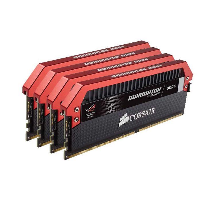 Mémoire PC Corsair Dominator Platinum ROG 32 Go (4x 8 Go) DDR4 3200 MHz CL16 Kit Quad Channel 4 barrettes de RAM DDR4 PC4-25600 - CMD32GX4M4C3200C16-ROG (garantie à vie par Corsair)