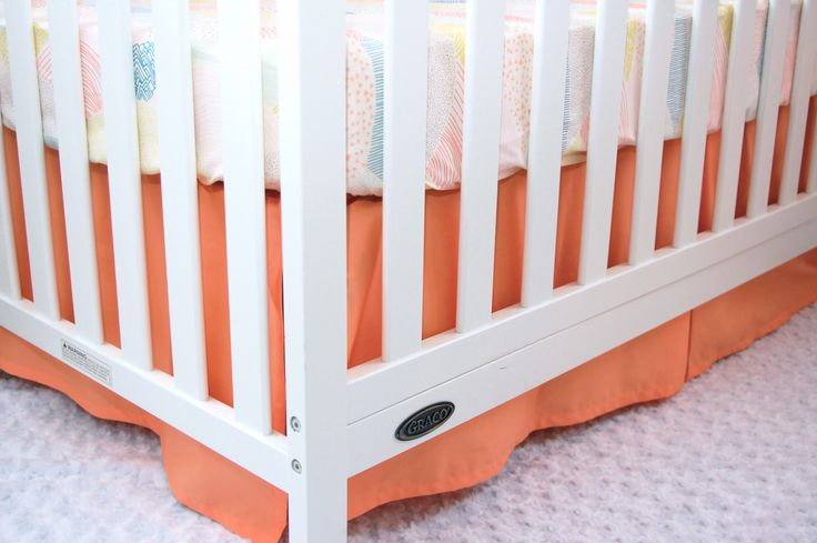 CRIB SKIRT - Solid Peach - Straight Box-Pleat, Gathered, 3-Tier Ruffle Crib Skirt - Apricot Creme - Ready to Ship in 3-5 Days by LittleMooseByLiza on Etsy https://www.etsy.com/listing/519610234/crib-skirt-solid-peach-straight-box