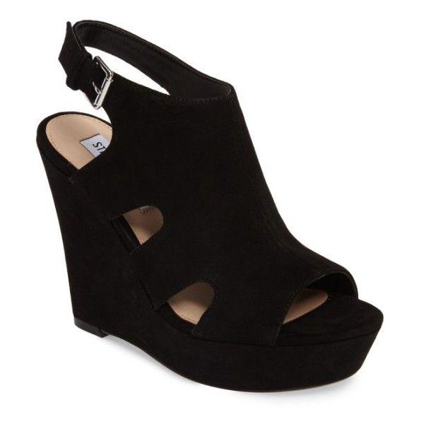 Women's Steve Madden Emmy Wedge Sandal (2 305 UAH) ❤ liked on Polyvore featuring shoes, sandals, black suede, suede sandals, black platform sandals, black suede sandals, wedge heel sandals and black wedge heel sandals