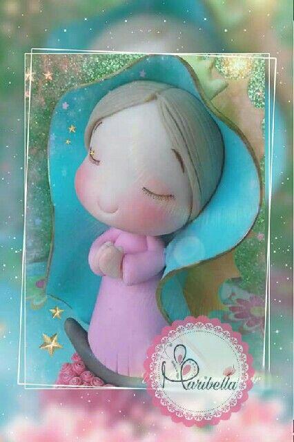 Virgencita en porcelana fria #virgencita #religiosos #porcelanafria #pastafrancesa #pastaflexible #maribella