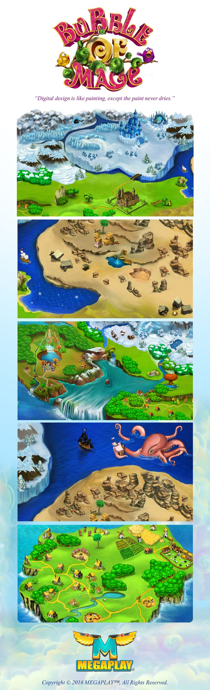 "Digital Painting of Map & Logotype for Social Facebook Puzzle Game ""Bubble of Mage""  by Megaplay Games. Art by Bella Muradov"