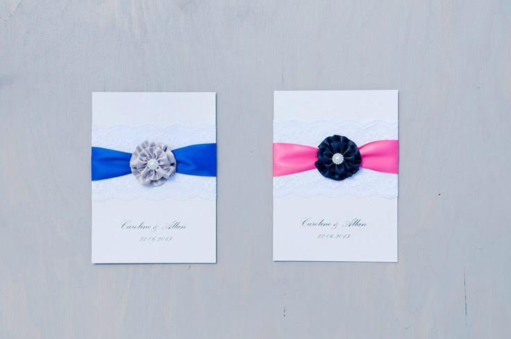 Can't decide on one color? Get the same design in 2 different colors (or more!) #Vancouver #Handmade #Wedding #Invitations We love the bright ribbons on a grey cardstock, with handmade silk flowers. www.blisspaper.com