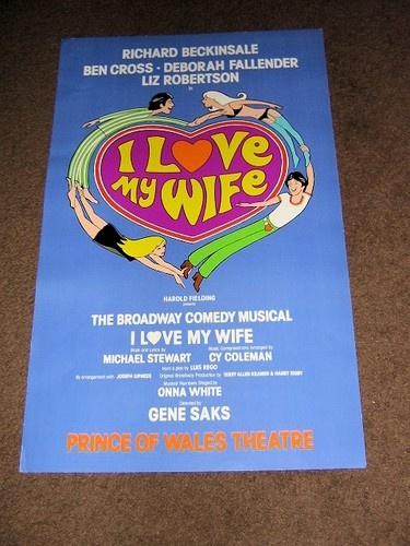 I LOVE MY WIFE THEATRE POSTER 1977 RICHARD BECKINSALE