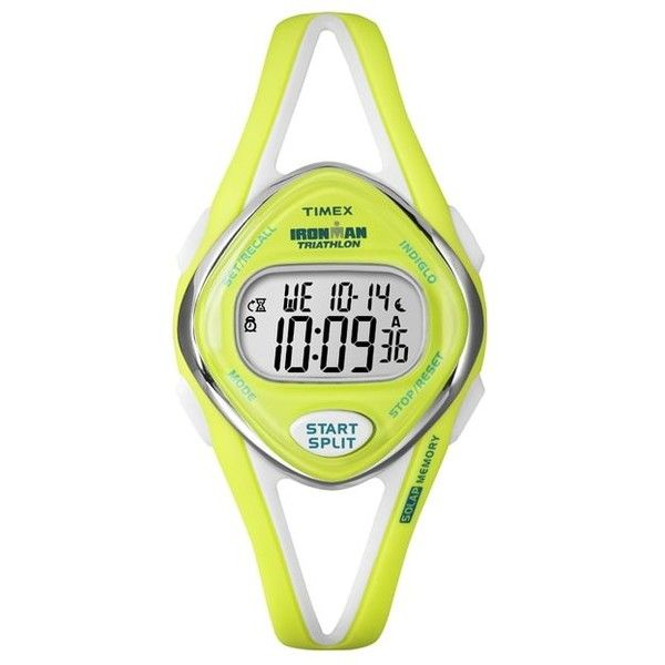 Timex Women's T5K656 Ironman Sleek 50-lap Lime Watch ($34) ❤ liked on Polyvore featuring jewelry, watches, green, chronograph watches, alarm chrono watch, lime green watches, green watches and green digital watch