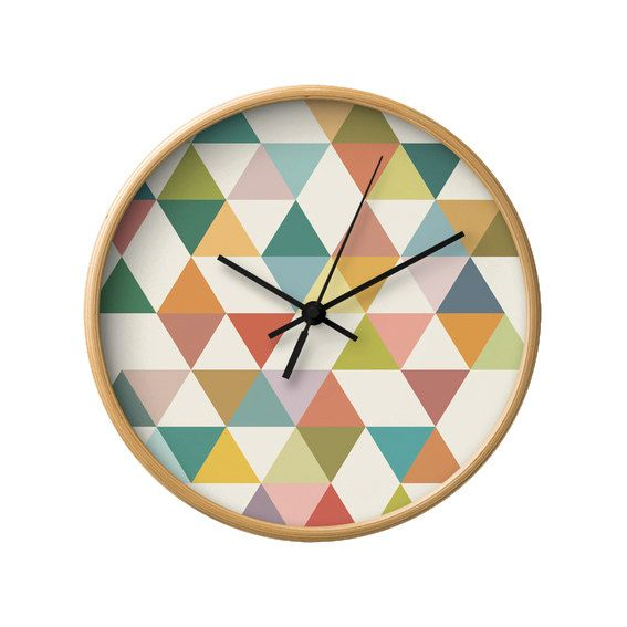 Geometric wall clock mid century design wall clock by LatteHome