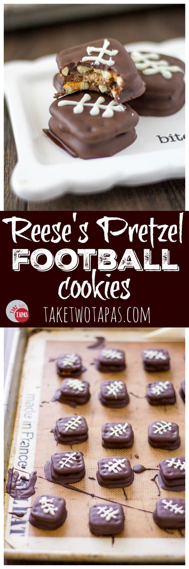 A salty, crispy pretzel sandwich stuffed with Reese's cups, dipped in chocolate and decorated with laces make the perfect Reese's Pretzel Football Cookies for your Game Day Celebration! Recipe | Take Two Tapas