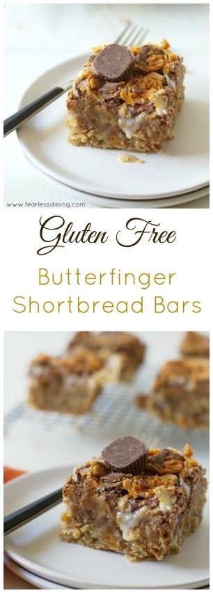 Gluten Free Butterfinger Shortbread Cookie Bars http://www.fearlessdining.com