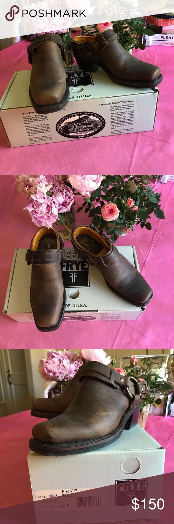Frye Mule Clog in Tan Size 6.5 This pair of Frye Mule Clogs have been worn once! No really show of the wear. They have a harness around the ankle and are low on the ankle. Frye Shoes Mules & Clogs