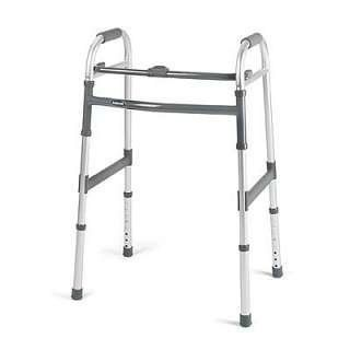 Invacare Single Release Adult Walker by Invacare. $41.95. PVS handgrips wear longer and provide greater comfort.. Folding mechanisms are easy to reach from a seated position.. Minimal effort is required to open and close the walkers.. Ergonomic release button and folds easily for transport or storage.. Composite lower side brace stiffens walker frame and adds stability.. The Invacare Adult Single Release Walker features a wide, deep frame with more height adjustments for enhance...